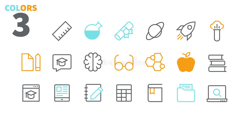 Vektorn för PIXELet för utbildning UI Brunn-tillverkade fodrar den Perfect thin symboler 48x48 som är klara för rastret 24x24 för stock illustrationer