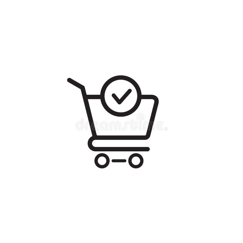 Vektorn för symbolen för shoppingvagnen och för kontrollfläcken avslutade beställning, bekräftar den plana illustrationen för tec stock illustrationer