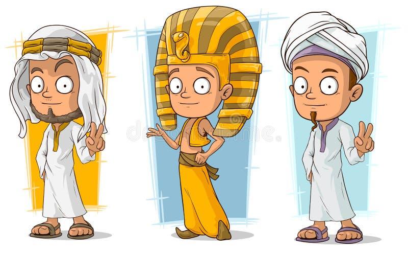 Vektorn in för teckenet för den tecknad filmaraben och egyptiern ställde den unga royaltyfri illustrationer