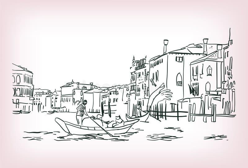 Vektorn för Venedig fartygvatten skissar illustrationlinjen royaltyfri illustrationer