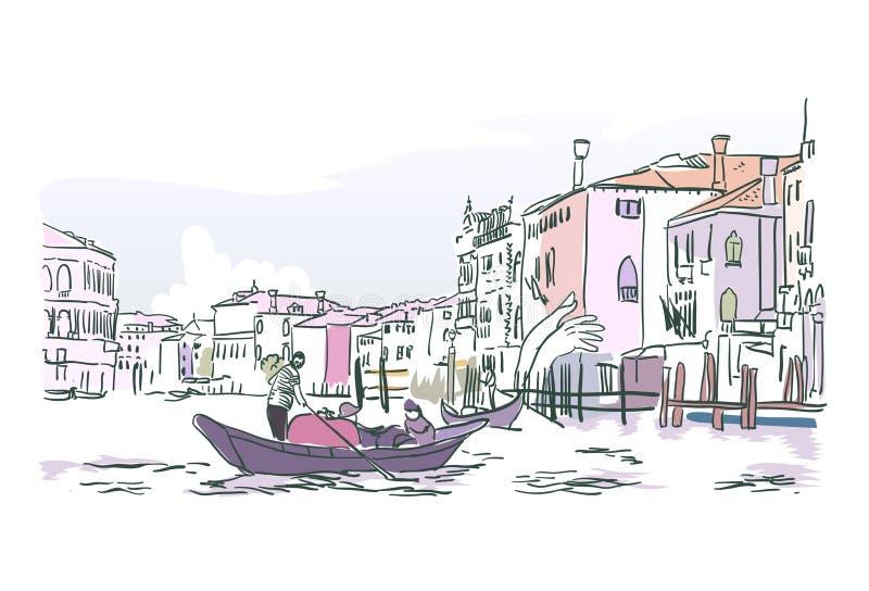 Vektorn för Venedig fartygvatten skissar illustrationvattenfärgen royaltyfri illustrationer