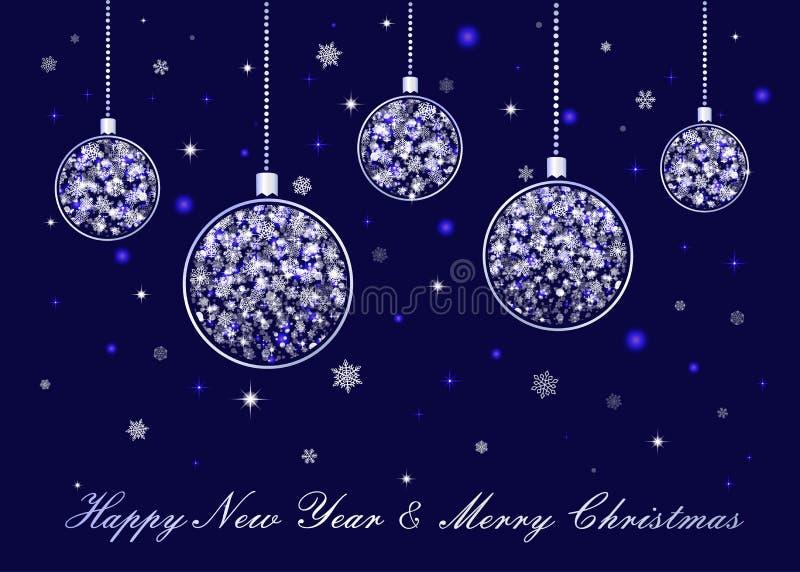 Vektorn försilvrar julbollar på blå bakgrund royaltyfri illustrationer
