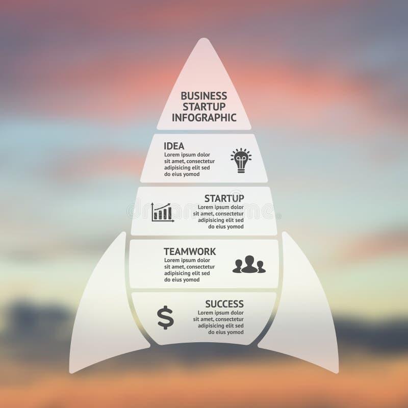 Vektorn fodrar infographic pilar Mall för det startup raketdiagrammet, graf, presentation, diagram Affärsidé med vektor illustrationer