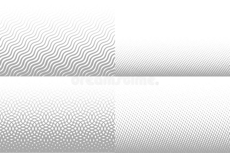Vektorn fodrar lutningbakgrund för broschyr Grå ovanlig textur, linjen rytm mönstrar samlingen Linjär vektor vektor illustrationer
