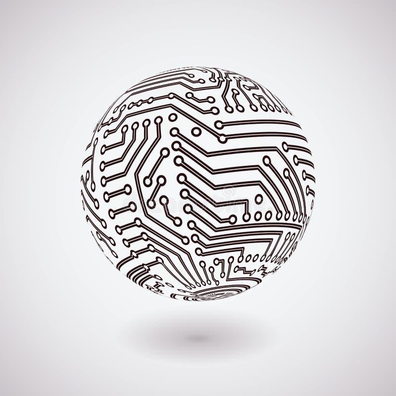 Vektorn går runt stiger ombord spheren royaltyfri illustrationer