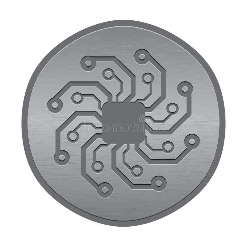 Abstrakt elektronisk symbol eller logo. Circuit stiger ombord sunen. royaltyfri illustrationer