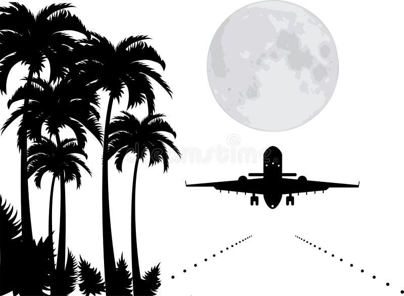 vektorn gömma i handflatan, moonen och nivån över landningsbana vektor illustrationer