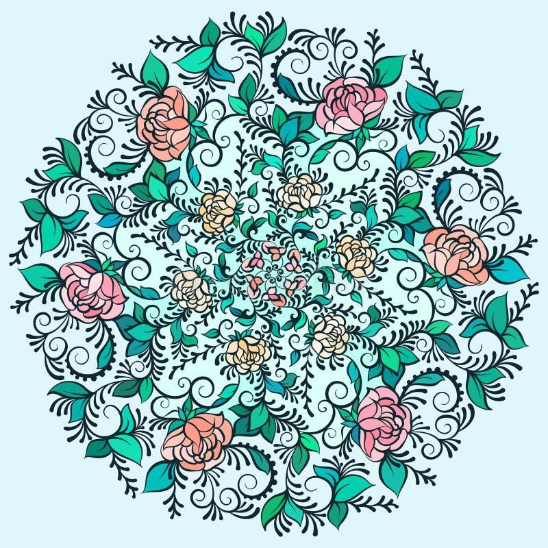 Vektorn härliga Deco färgade konturmandalaen, den mönstrade designbeståndsdelen, etnisk amulett stock illustrationer