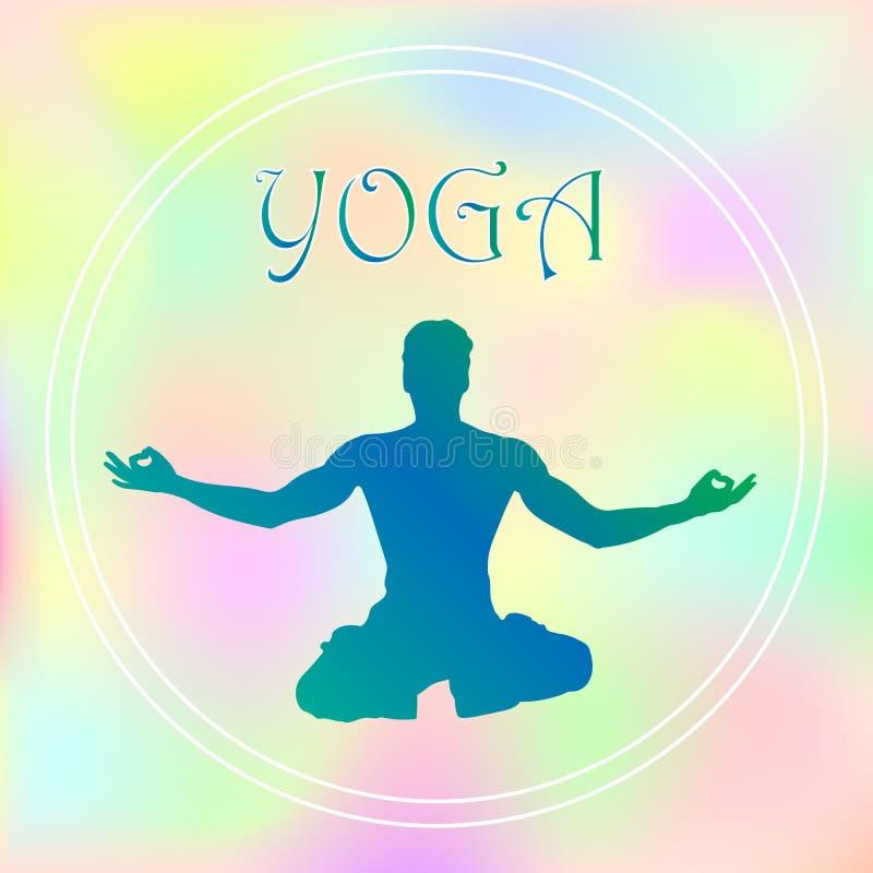 Vektorn hand-dragen yoga poserar med i olika balansera positioner av bönen, och meditationen i lotusblomma poserar hälsa och kond royaltyfri illustrationer