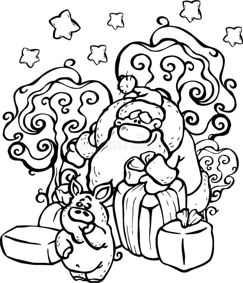 Vektorn illustrationen, Santa Claus, den svartvita bilden, nytt år, ger ett svin många gåvor, skogen, vintern, snö, glädje, ferie royaltyfri illustrationer