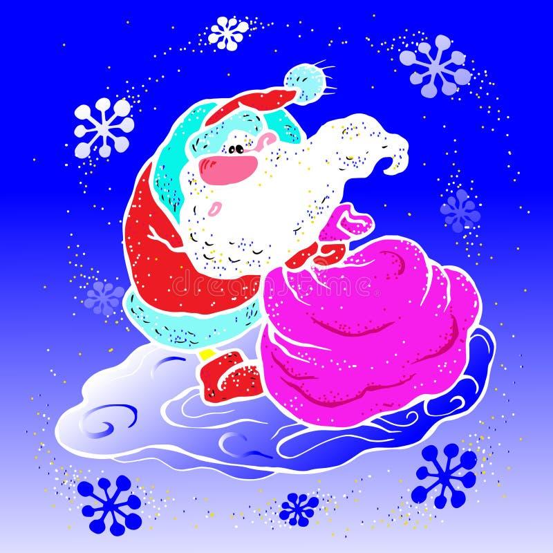 Vektorn illustrationen, Santa Claus, släpar en stor påse med gåvor, för ferien för det nya året, i en häftig snöstorm, häftiga sn stock illustrationer