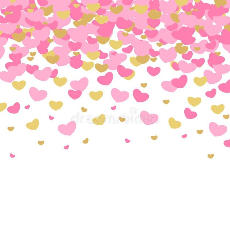 Vektorn illustrerade modeller för dag för valentin` s Gulliga tegelplattabröllopbakgrunder med hjärtor av guld och rosa färger vektor illustrationer