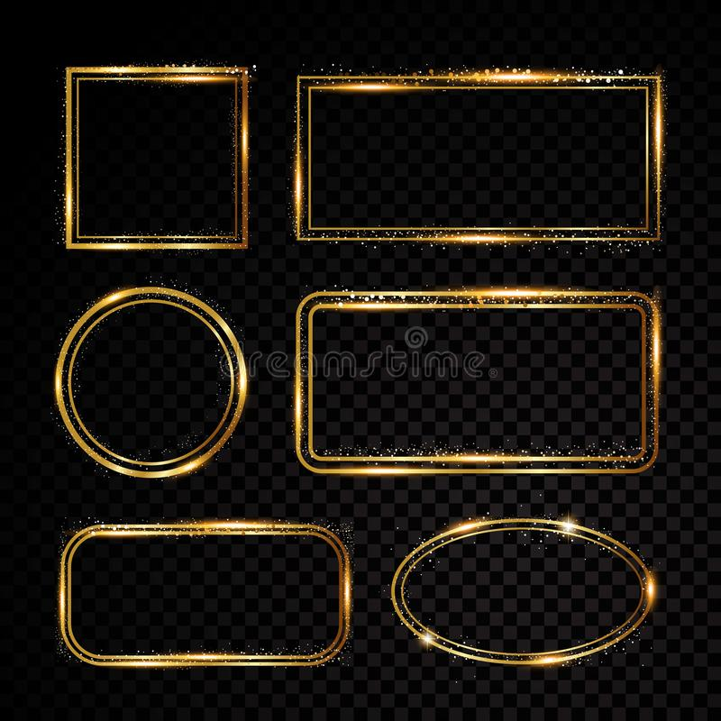 Vektorn inramar samlingen Glänsande baner Isolerat på svart genomskinlig bakgrund också vektor för coreldrawillustration vektor illustrationer