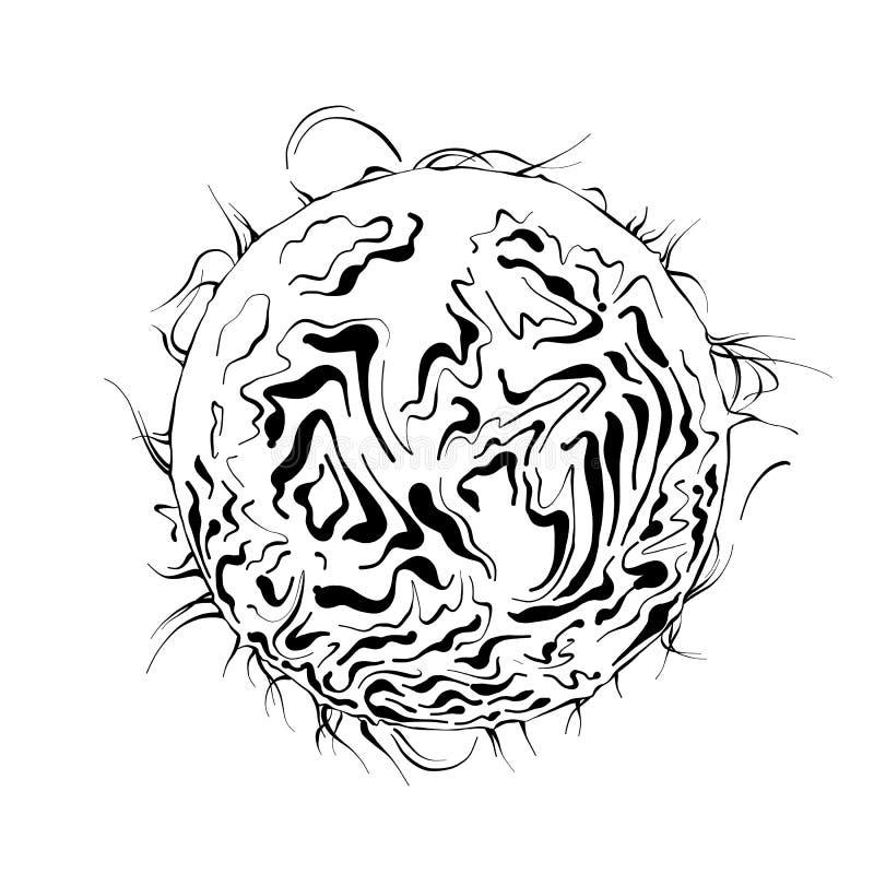 Vektorn inristade stilillustrationen för affischer, logo, emblem, garnering och tryck Den drog handen skissar av solplaneten i sv royaltyfri illustrationer