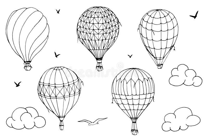 Vektorn isolerade ballonger p? vit bakgrund Många randiga luftballonger som flyger i den fördunklade himlen Modeller av moln och  royaltyfri illustrationer