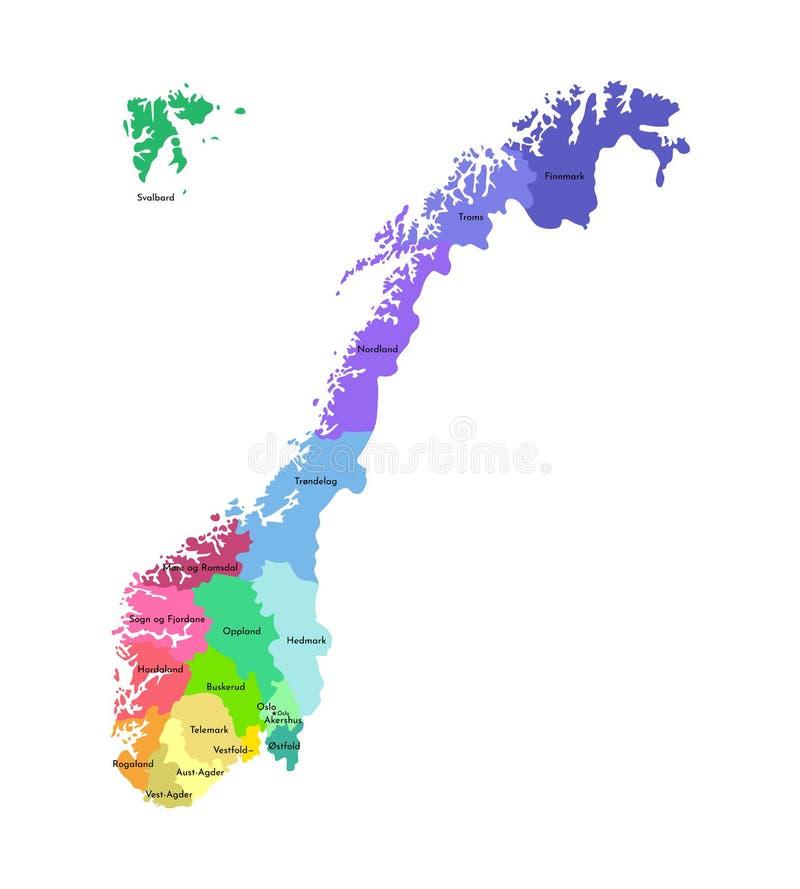 Vektorn isolerade den förenklade illustrationen med konturn av Norge, färgrika konturer av regioner Namn av län stock illustrationer