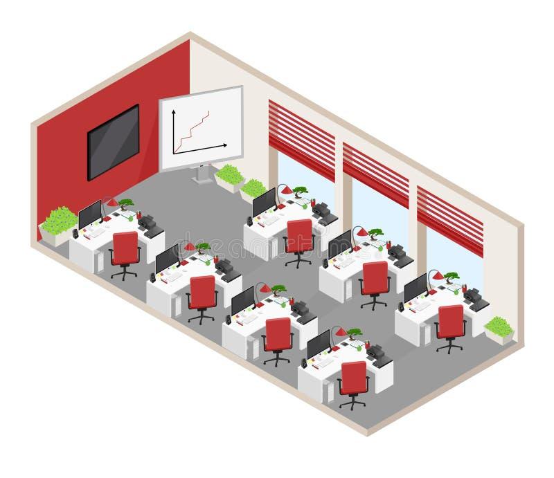 Vektorn isolerade det isometriska kontorslandskapet med objekt och furn stock illustrationer