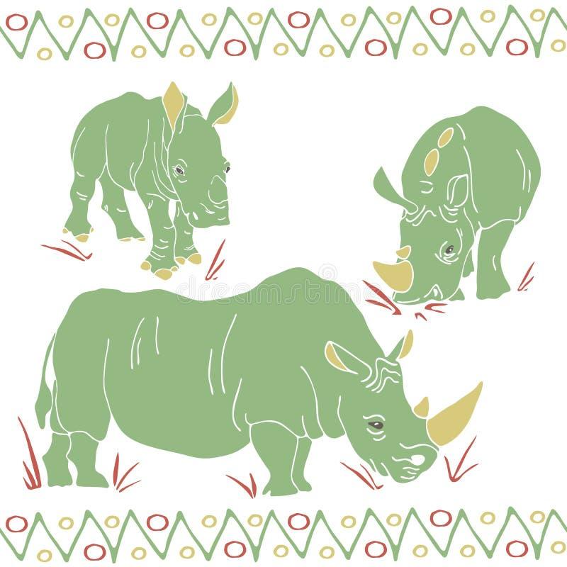 Vektorn isolerade noshörningar mamma och ungemodellen royaltyfri illustrationer