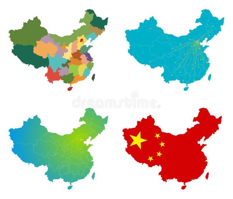Vektorn Kina kartlägger uppsättningen royaltyfri illustrationer