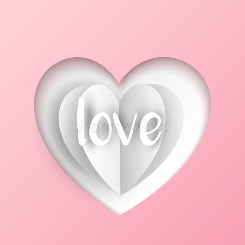 Vektorn klippte ut hjärta med vikt pappers- hjärta och text på bakgrund för pastellfärgade rosa färger vektor illustrationer