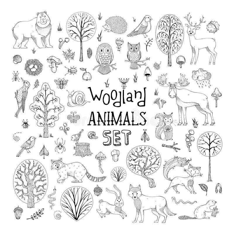 Vektorn klottrar skogsmarkdjuruppsättningen royaltyfri illustrationer