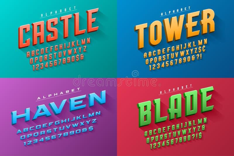 Vektorn kondenserade original- skärmuppsättningen av stilsorter planlägger, alfabetet vektor illustrationer