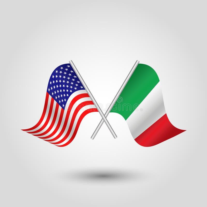 Vektorn korsade amerikanen, och italienareflaggor på silver klibbar - symbol av USA och Italien vektor illustrationer