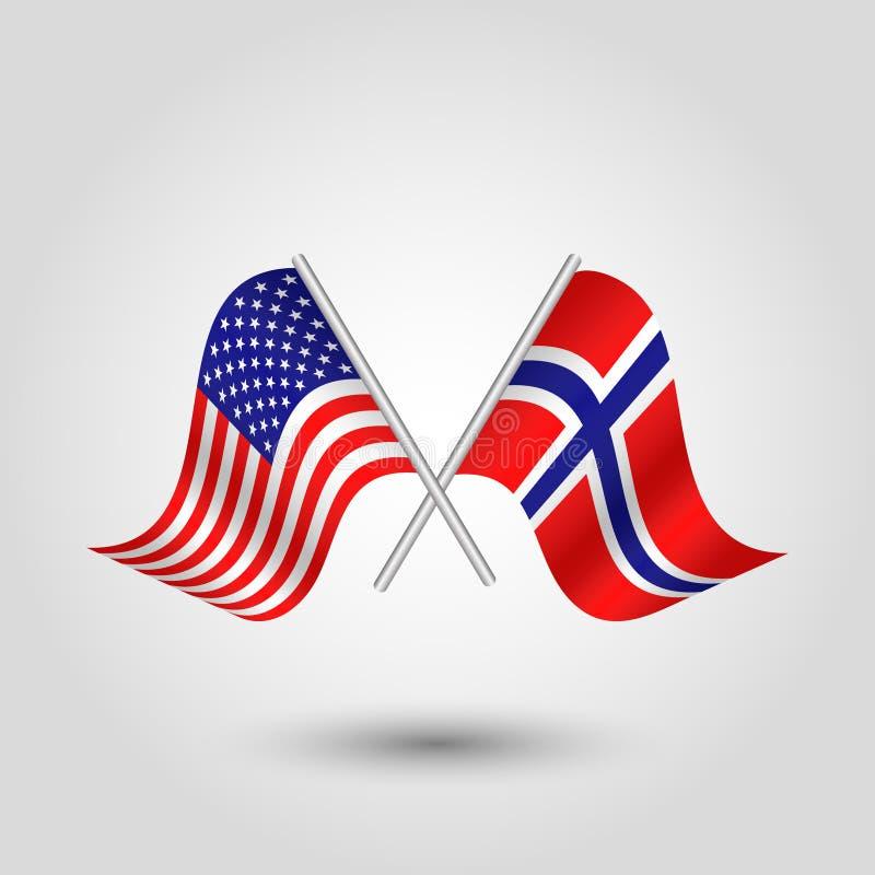 Vektorn korsade amerikanen, och norrmanflaggor på silver klibbar - symbol av USA och Norge royaltyfri illustrationer