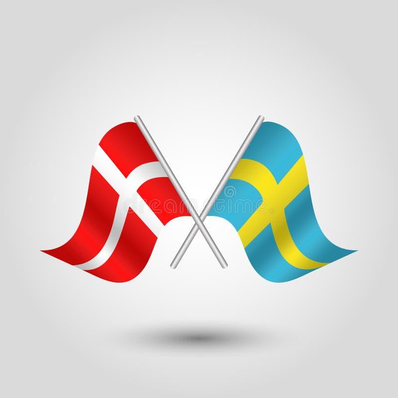 Vektorn korsade dansk, och svenskflaggor på silver klibbar - symbol av Danmark och Sverige stock illustrationer