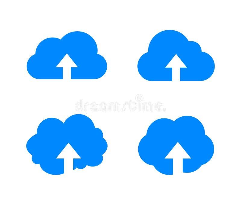 Vektorn laddar upp i molnsymbol, slösar kulöra moln med den isolerade piluppsättningen vektor illustrationer