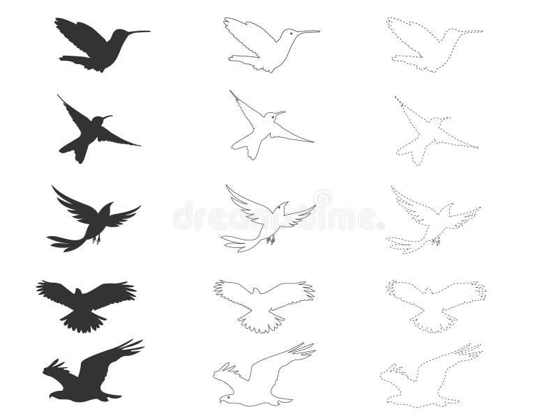 Vektorn lagerför att flyga hökar, seagulls, svalor, örnar royaltyfri illustrationer