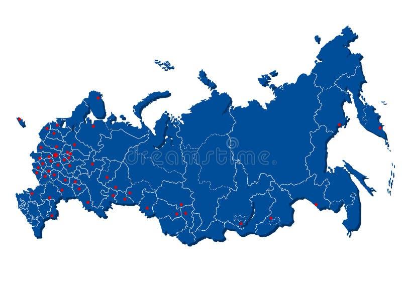 Vektorn lagerför illustrationöversikten av Ryssland med städer vektor illustrationer