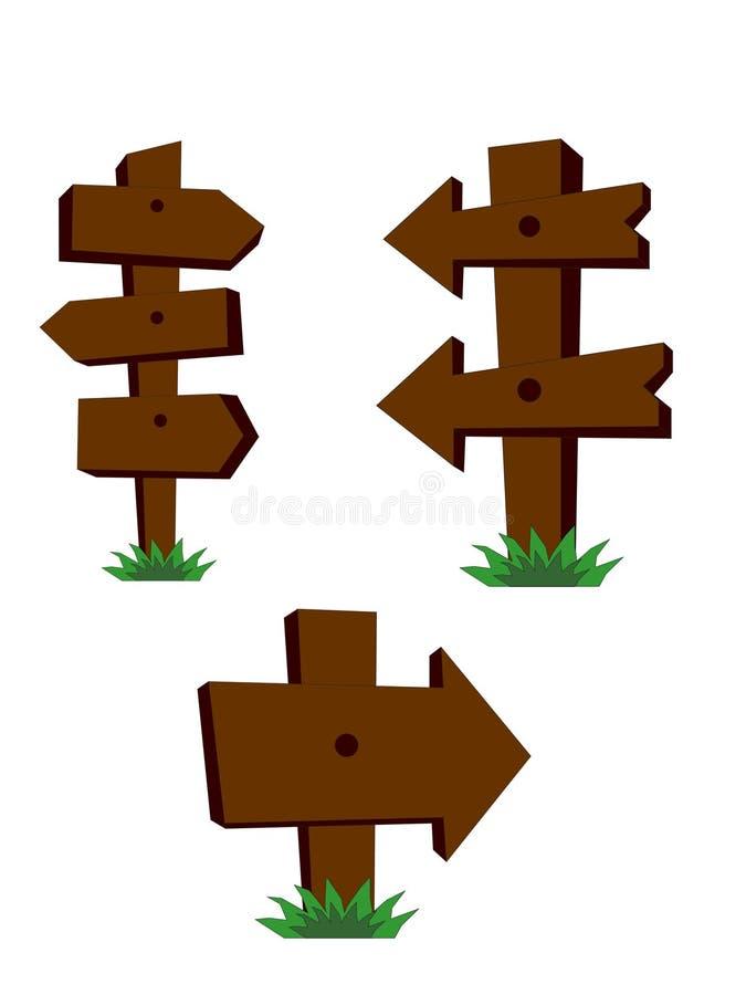 Vektorn lagerför illustrationen av trävägmärken med gräs royaltyfri illustrationer