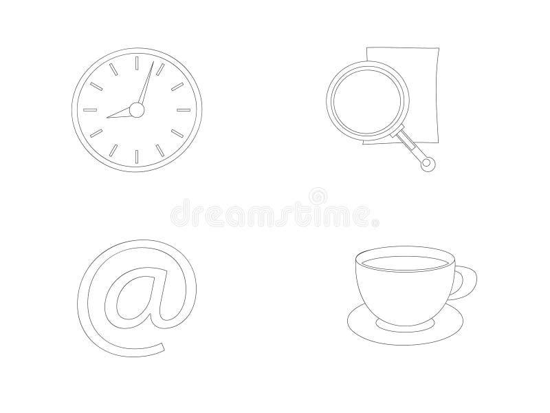 Vektorn lagerför linjen kontorssymboler stock illustrationer