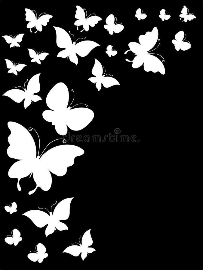 Vektorn lagerför samlingen av vita fjärilar stock illustrationer