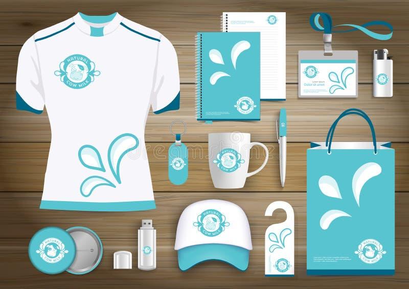 Vektorn mjölkar, yoghurten, eller krämlogoen, livsmedelsbutiken, det åkerbruka lagret, kogåvaobjekt, färgar befordrings- souvenir royaltyfri illustrationer