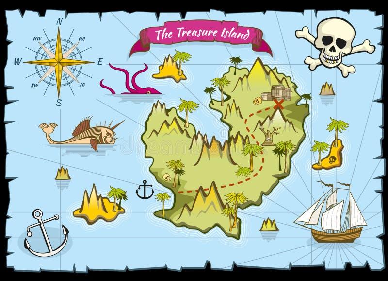 Vektorn piratkopierar skattfärgöversikten royaltyfri illustrationer