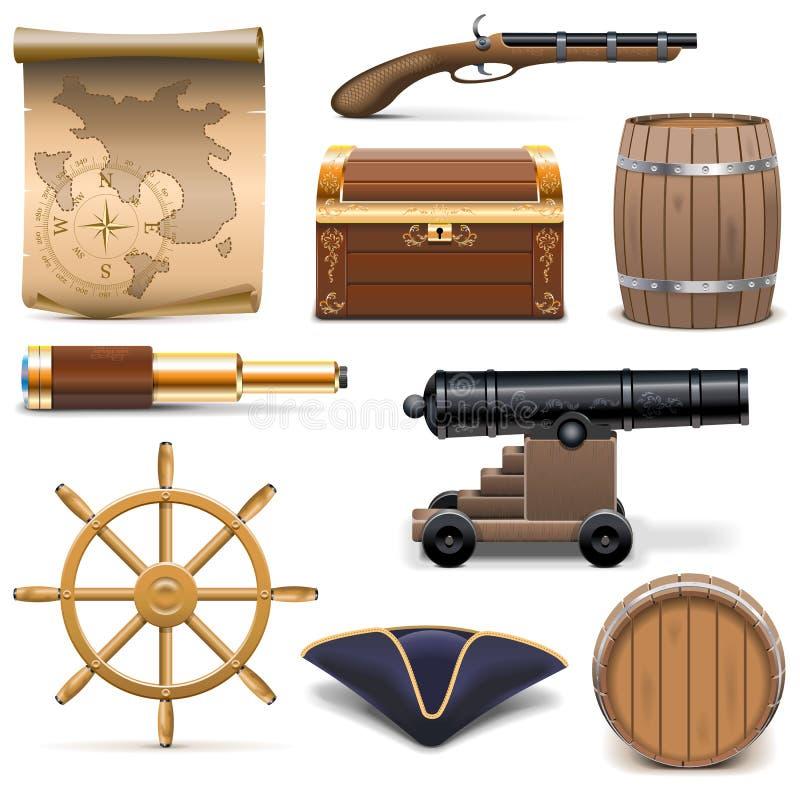 Vektorn piratkopierar symboler royaltyfri illustrationer