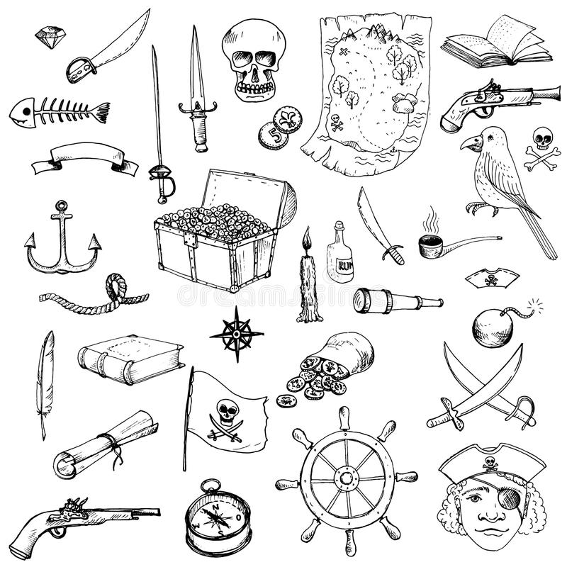 Vektorn piratkopierar uppsättningen stock illustrationer