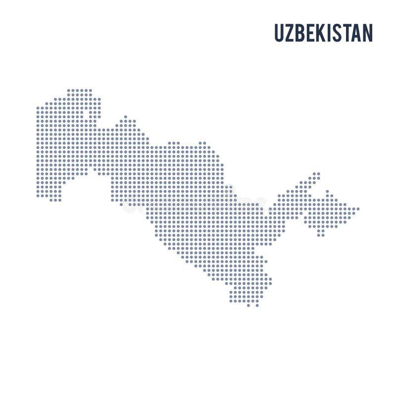 Vektorn prack översikten av Uzbekistan isolerade på vit bakgrund stock illustrationer
