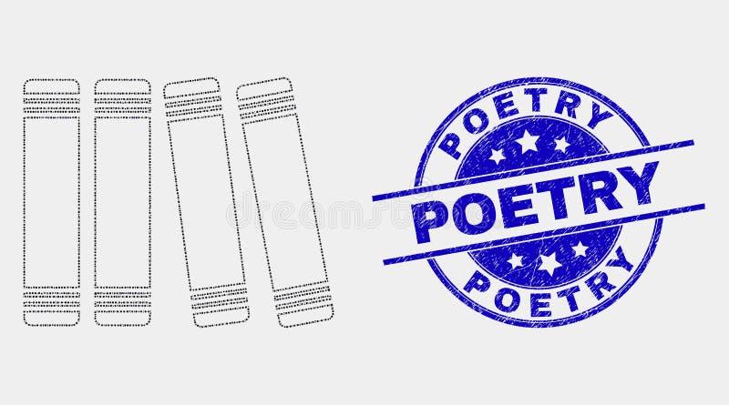 Vektorn prack boksymbols- och Grungepoesivattenstämpeln royaltyfri illustrationer