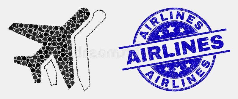 Vektorn prack flygplansymbolen, och Grungeflygbolag stämplar stock illustrationer