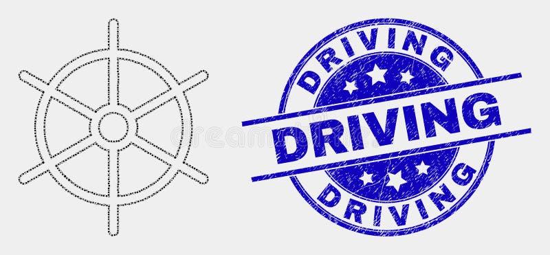 Vektorn prack symbolen för skeppregelhjulet och bedrövar körning av stämpeln royaltyfri illustrationer