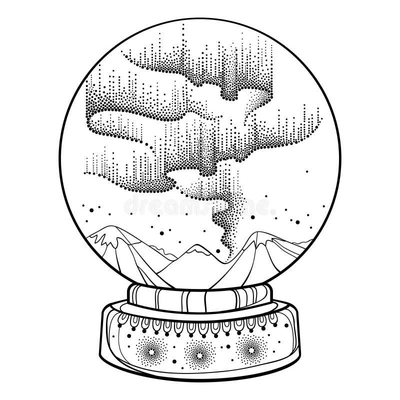 Vektorn prack virvlar av svart nordligt eller polart ljus i snöjordklotet Rund sfär med norrskenljus i dotworkstil stock illustrationer