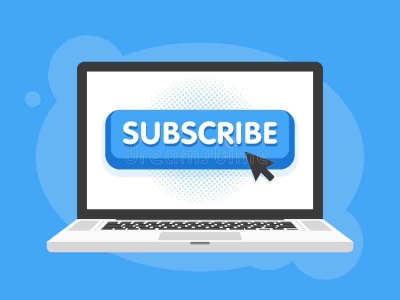 Vektorn prenumererar knappen med markören i plan design För videoen som strömmar websitebaner, bloggar, innehållsuppdateringar oc royaltyfri illustrationer