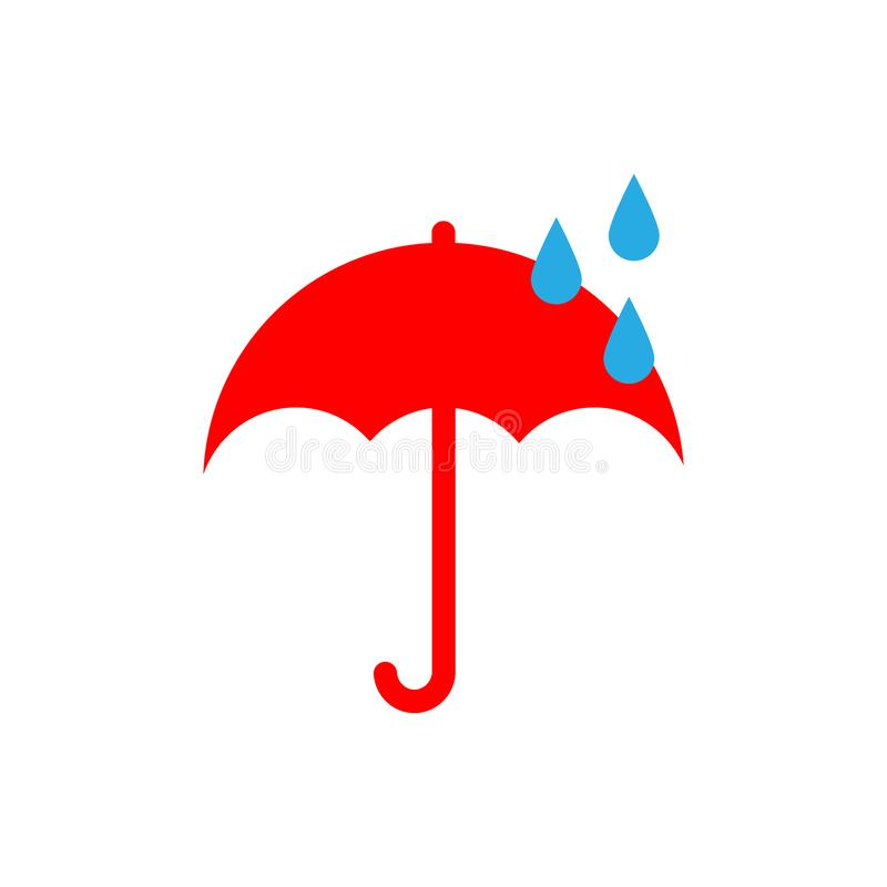 Vektorn rider ut symboler Plan stil regn Det ?r regnigt Rött paraply och droppar vektor illustrationer