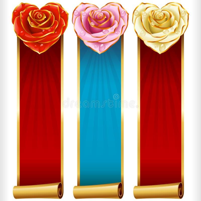 Vektorn Rose Hearts och vertikala baner för virvelband ställde in royaltyfri illustrationer