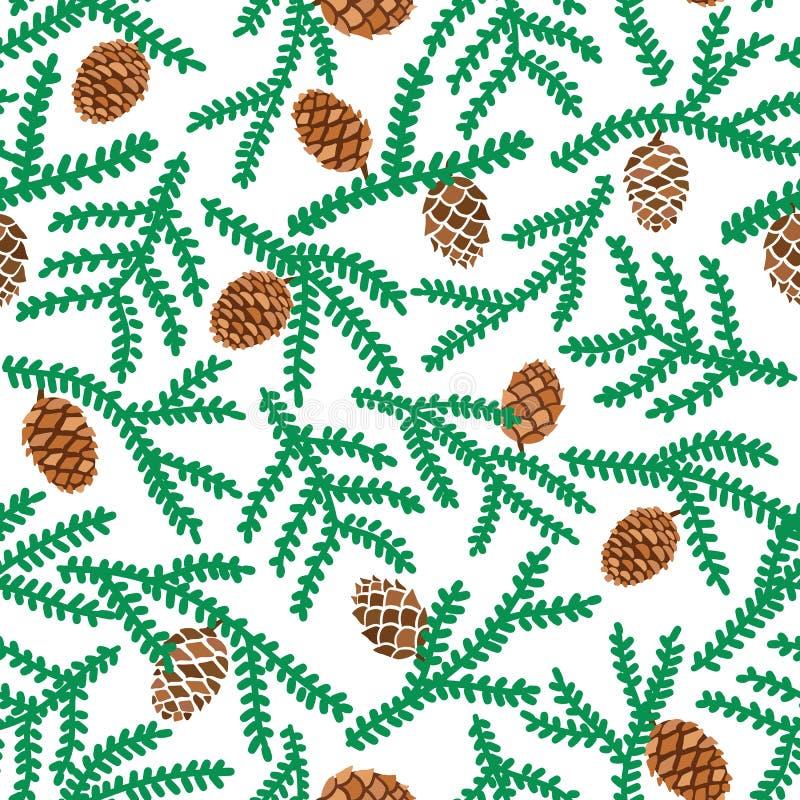 Vektorn sörjer den sömlösa modellen för trädfilialer med kotten Forest Illustration royaltyfri illustrationer