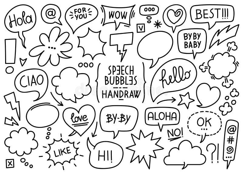 Vektorn skissade anförandebubblor vektor illustrationer