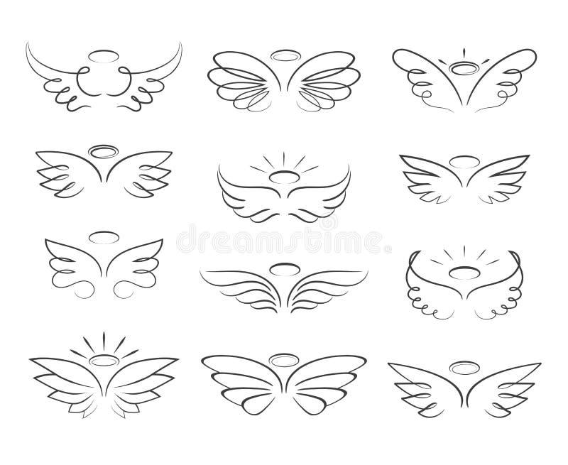 Vektorn skissar ängelvingar i tecknad filmstil som isoleras på vit bakgrund royaltyfri illustrationer